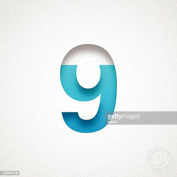 """Zahl 9 Design """"9"""" Blue-Mitgliedsnummer auf Aquarell Papier"""