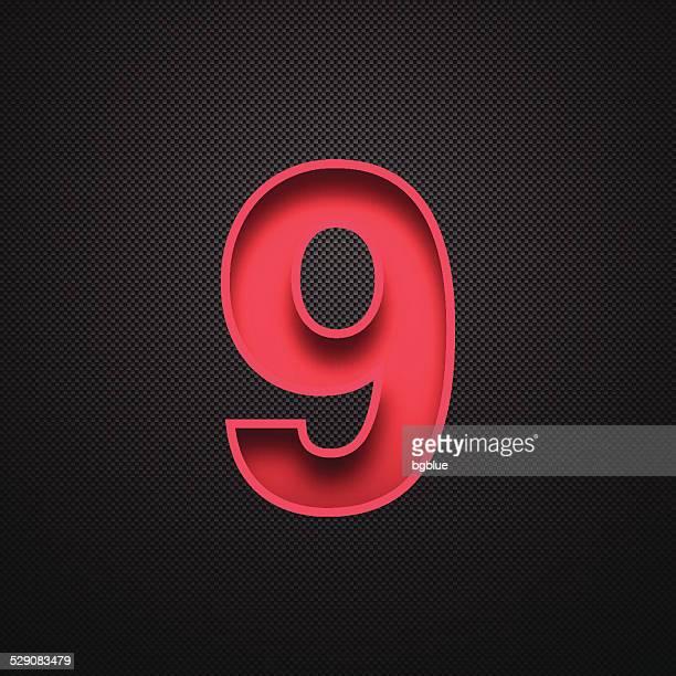 Zahl 9 Design (9). Rote Zahl an Carbon faser-Hintergrund