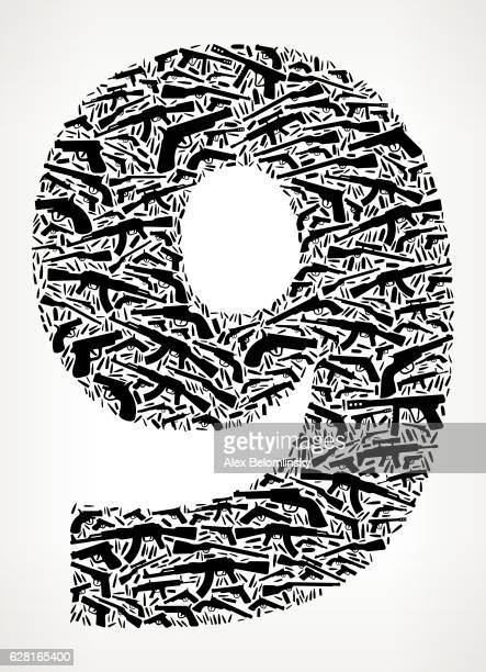 Number 9 Gun Black Icon Pattern Background