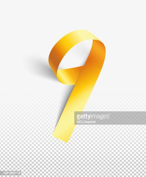 number 9 - illustration in vector - a narrow strip of paper painted in  gold curved into a round shape - luxury 3d realistic design element isolated on background with light and soft shadows - number 9 stock illustrations