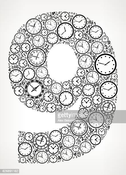 Number 9 on Time and Clock Vector Icon Pattern