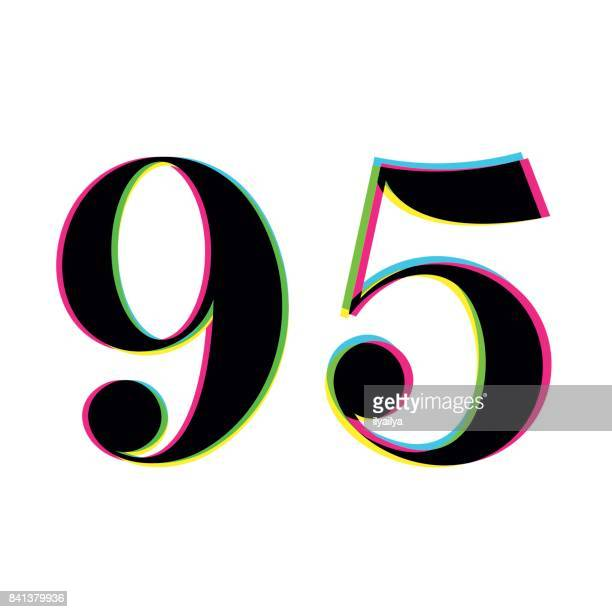 number 95 print overlay design - 90 plus years stock illustrations