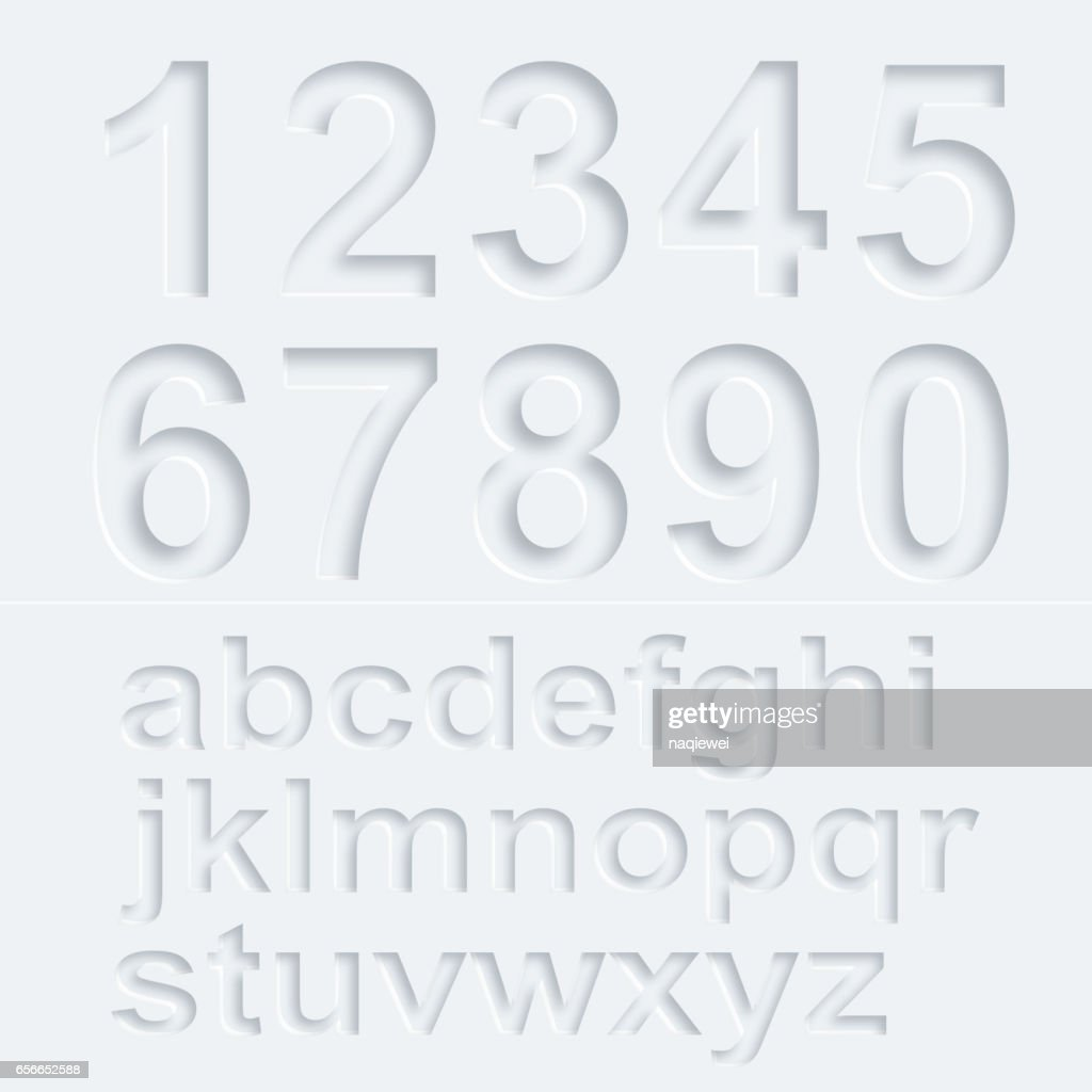 3D Number and alphabet vector pattern
