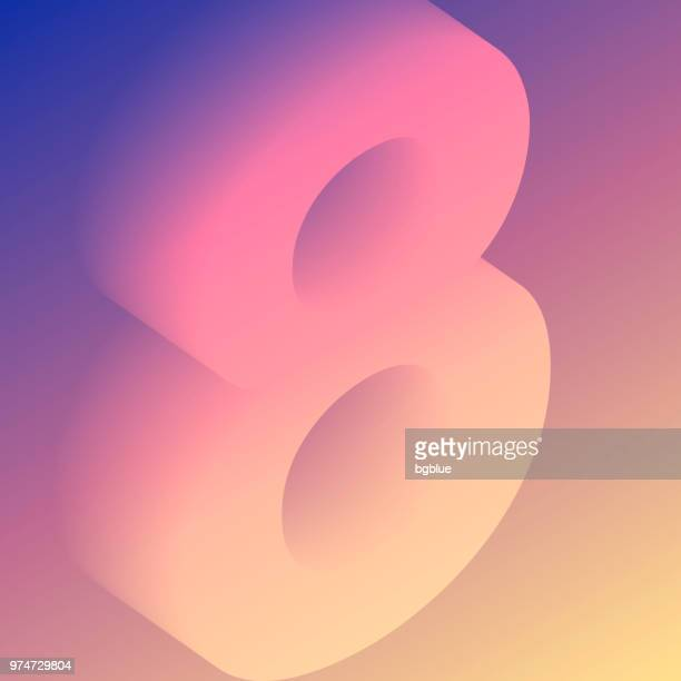 number eight 8 colorful - trendy gradient - number 8 stock illustrations