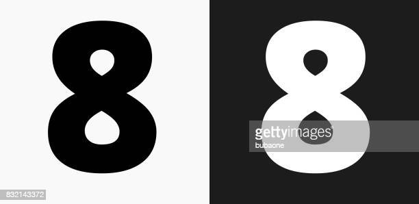 Number Eight Icon on Black and White Vector Backgrounds