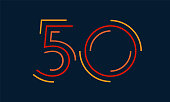 Number fifty vector numbers alphabet, modern dynamic flat design with brilliant colorful for your unique elements design ; logo, corporate identity, application, creative poster & more