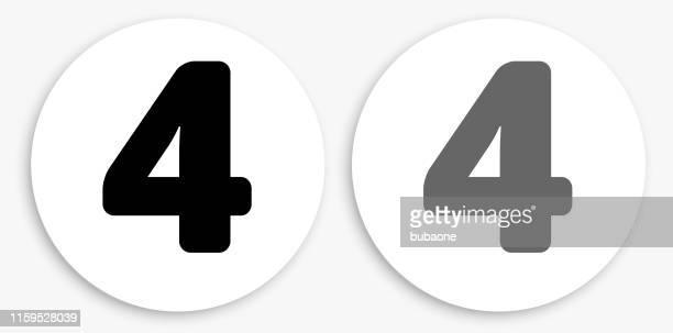 bildbanksillustrationer, clip art samt tecknat material och ikoner med nummer fyra svart och vit rund ikon - round four