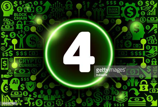 Number Four Icon on Money and Cryptocurrency Background