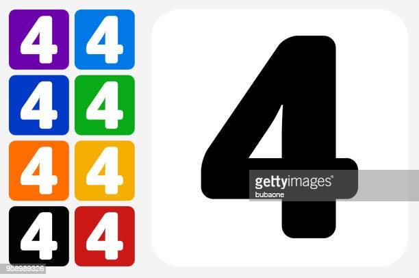 Number Four Icon Square Button Set
