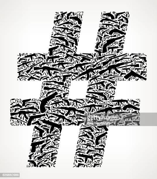 ilustraciones, imágenes clip art, dibujos animados e iconos de stock de number gun black icon pattern background - ak 47