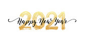 2021 number hand lettering. Happy New Year script text. Dry brush texture effect. Merry Christmas. Vector Illustration