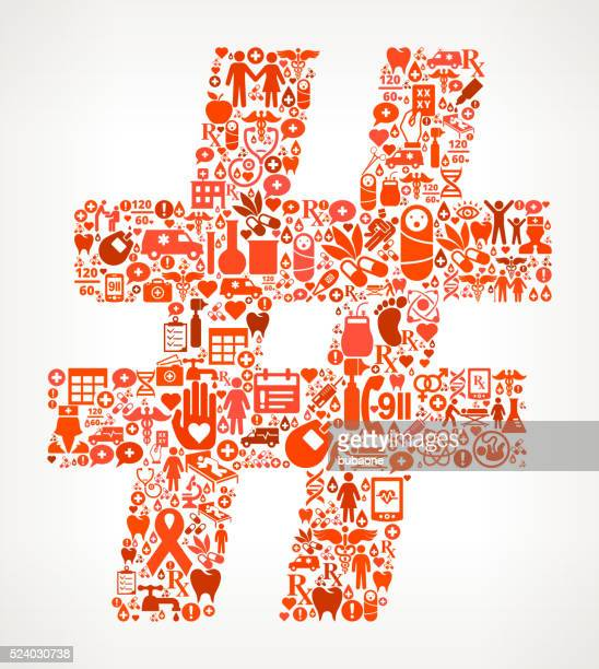 number healthcare and medical red icon pattern - cardiac conduction system stock illustrations