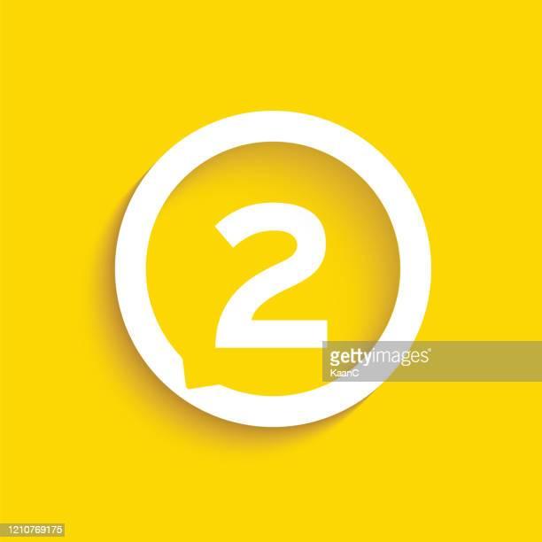 ilustrações de stock, clip art, desenhos animados e ícones de number in speech bubble vector icon. flat vector illustration isolated on yellow background. stock illustration - número 2