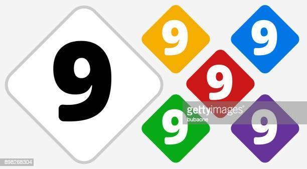 Nummer neun Farbe Diamant Vektor Icon