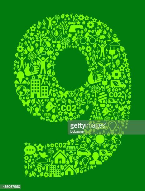 Number Nine Umweltschutz und Natur-interface-Symbol-Muster