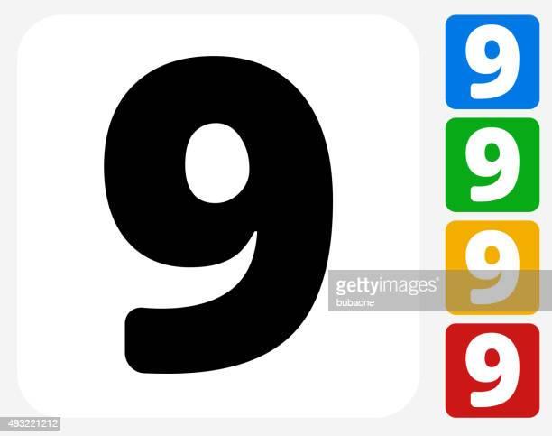 Number Nine ícone Flat Design gráfico