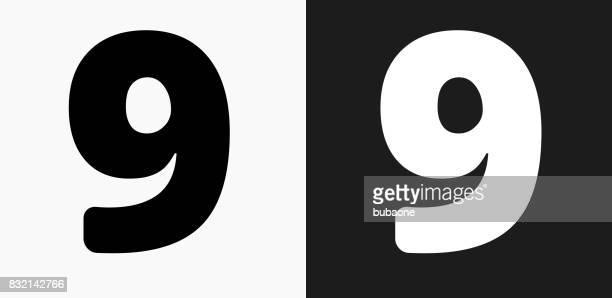 Nummer neun Symbol auf schwarz-weiß-Vektor-Hintergründe