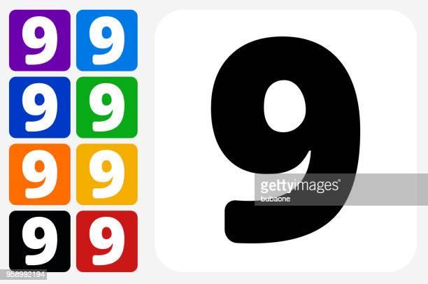 Nummer neun Symbol Square Buttonset