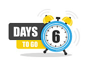Number of 6 days to go flat icon. Vector stock flat illustration