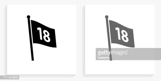 number on the flag black and white square icon - golf flag stock illustrations