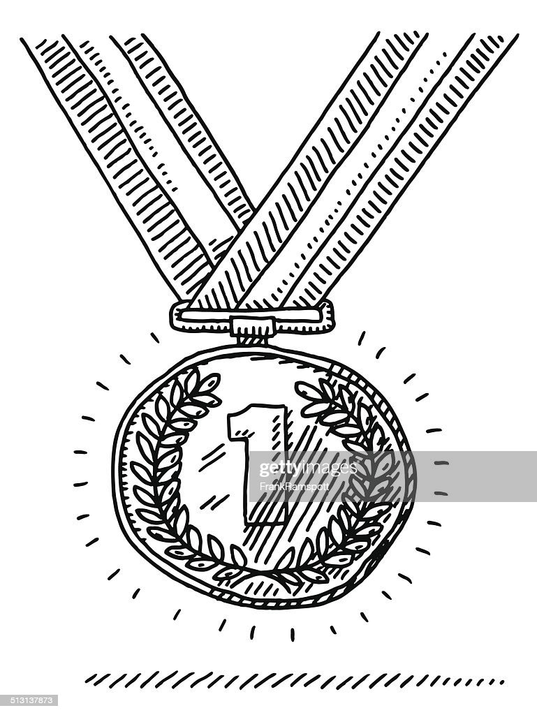 Number One Gold Medal Success Drawing : stock illustration