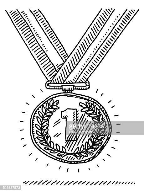 number one gold medal success drawing - the olympic games stock illustrations