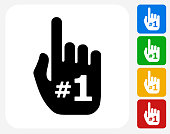 Number One Hand Icon Flat Graphic Design