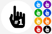 Number One Hand Icon on Flat Color Circle Buttons