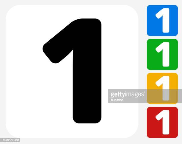 Numero uno icona piatto di Design grafico