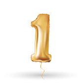 number one metallic balloon
