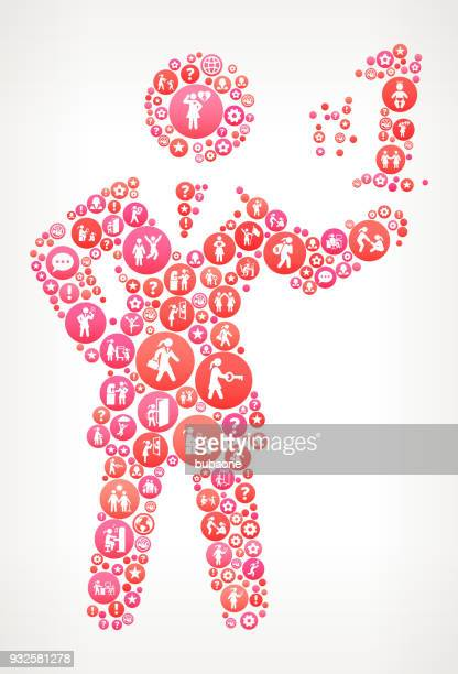 Number One  Women Girl Power Icons Vector Background