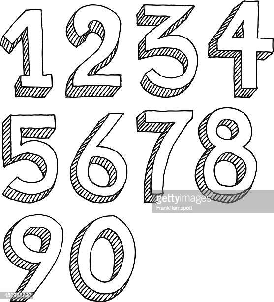 number set drawing - number 1 stock illustrations, clip art, cartoons, & icons