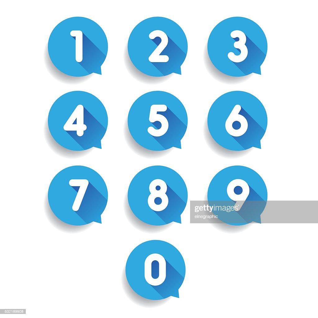 Number set speech bubble vector