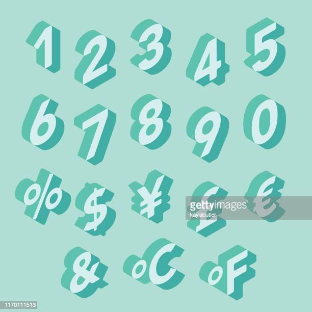 3d number set - fahrenheit stock illustrations