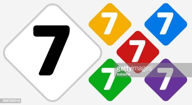Number Seven Color Diamond Vector Icon