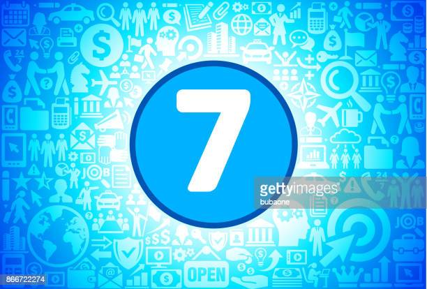 Number Seven Icon on Business and Finance Vector Background
