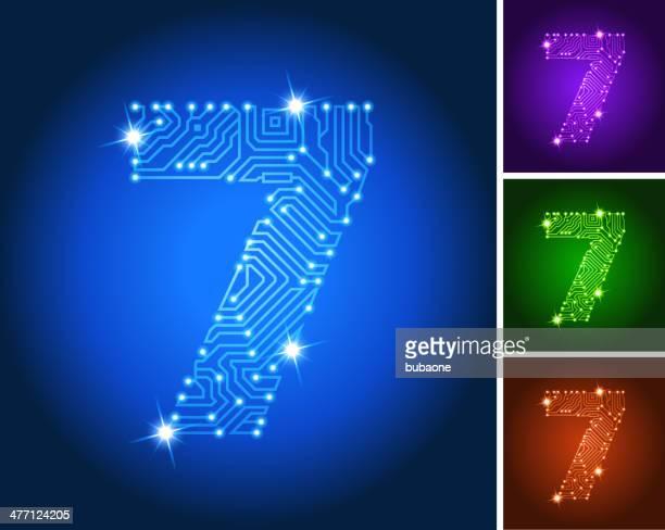 Number Seven on Blue Circuit Color Set