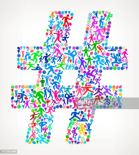 number sign fitness sports and exercise pattern vector backgroun - hashtag stock illustrations
