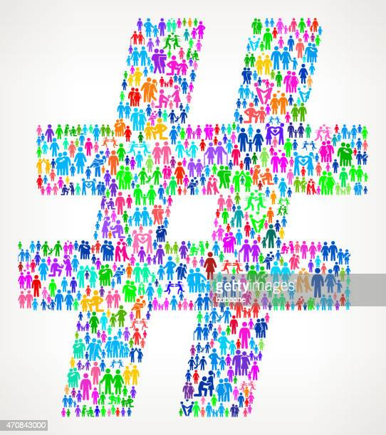 number sign on vector family pattern background - hashtag stock illustrations