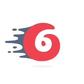 Number six icon with fast speed water, fire, energy lines.