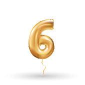 number six metallic balloon