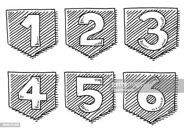 number stickers from 1 to 6 drawing - number stock illustrations