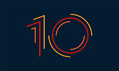 Number ten vector numbers alphabet, modern dynamic flat design with brilliant colorful for your unique elements design ; logo, corporate identity, application, creative poster & more