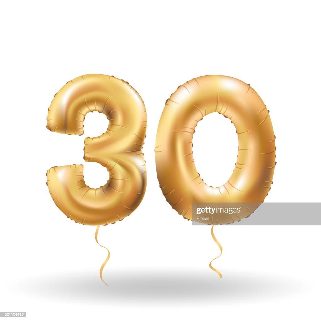 number thirty metallic balloon
