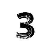Number Three 3 hand drawn with dry brush