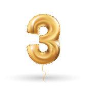 number three metallic balloon