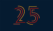 Number twenty five vector numbers alphabet, modern dynamic flat design with brilliant colorful for your unique elements design ; logo, corporate identity, application, creative poster & more