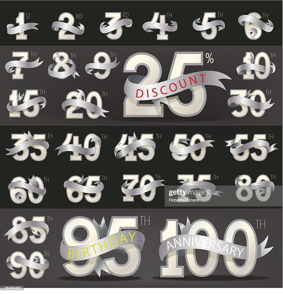 Number with stylish ribbon (eps10)
