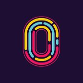 Number zero icon formed by neon line or fingerprint.