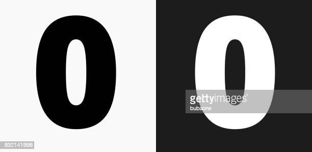 Number Zero Icon on Black and White Vector Backgrounds